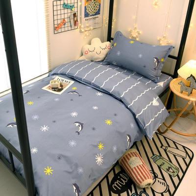 2021新款13372全棉三件套 床单式三件套 海豚 蓝
