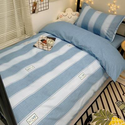 2021新款13372全棉三件套 床单式三件套 时尚范 蓝