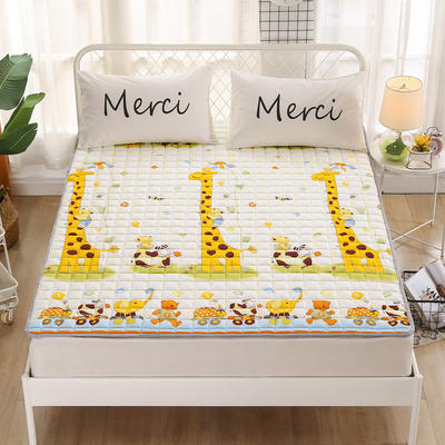2020新品 全棉印花床垫 地垫爬爬垫 可定制尺寸 纯棉多功能四季床垫 可机洗 1.0*2 长颈鹿乐园
