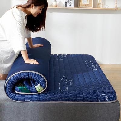 2020年新款防塌陷乳胶记忆海棉床垫 针织棉健康舒适床垫 0.9x2.0米 深海蓝9cm