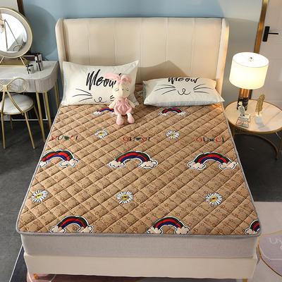 2020新款牛奶绒床垫 网红热款床垫 防滑可机洗保暖床褥子 防滑地垫 支持定制 0.9x2.0m 彩虹