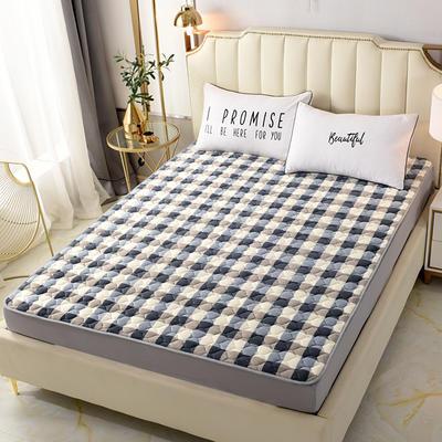 2020新款法莱绒保暖床褥床垫 0.6x1.2米(定做尺寸) 灰白格