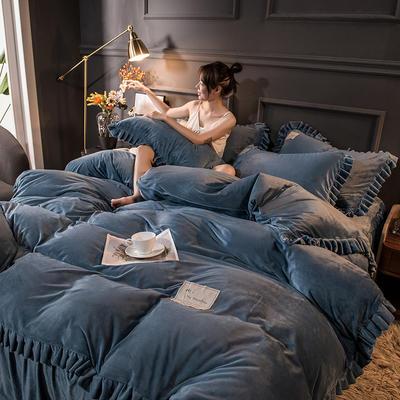 2020新款臻棉绒双层花边四件套 1.5m床单款四件套 宝石蓝