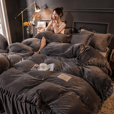 2020新款臻棉绒双层花边四件套 1.8m床单款四件套 星际灰