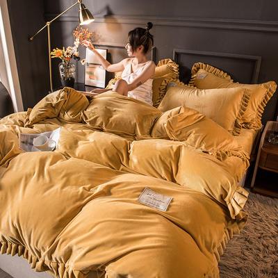 2020新款臻棉绒双层花边四件套 1.5m床单款四件套 萱明黄