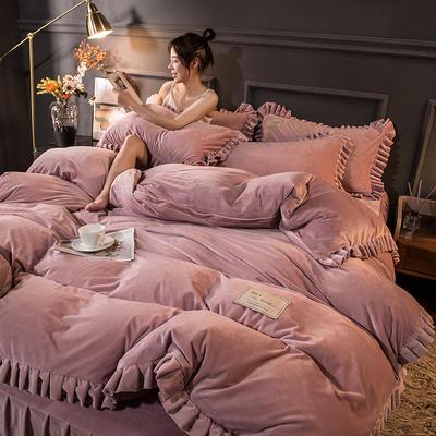 2020新款臻棉绒双层花边四件套 1.8m床单款四件套 胭脂紫