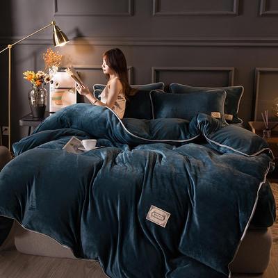 2020秋冬高克重纯色保暖加厚金貂绒四件套 1.5m床单款四件套 时尚款-宝石蓝