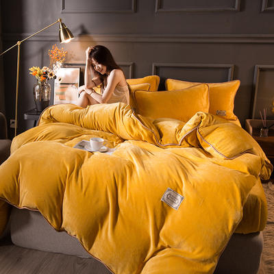 2020秋冬高克重纯色保暖加厚金貂绒四件套 1.5m床单款四件套 时尚款-娇黄色