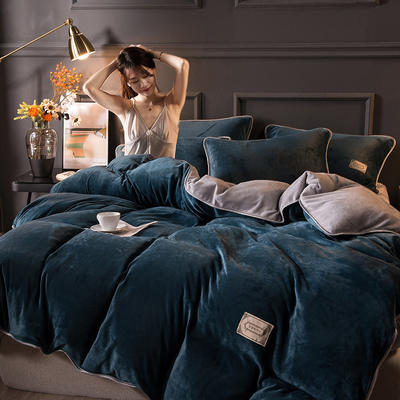 2020秋冬高克重纯色保暖加厚金貂绒四件套 1.5m床单款四件套 时尚款-蓝+灰