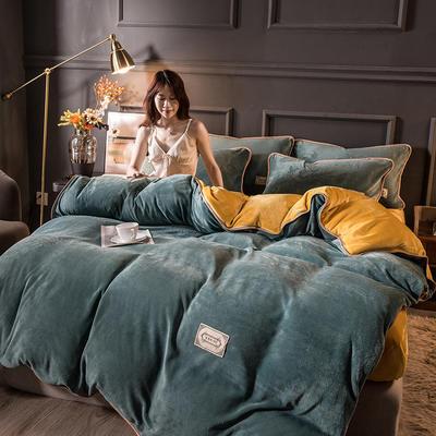 2020秋冬高克重纯色保暖加厚金貂绒四件套 1.5m床单款四件套 时尚款-绿+黄