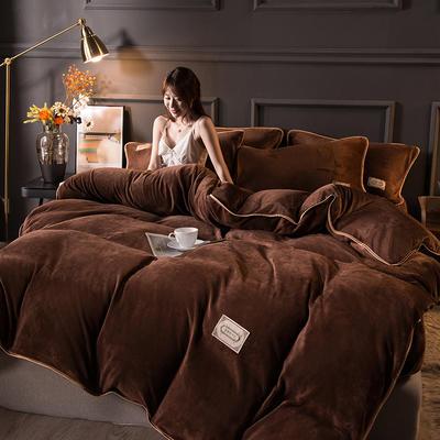2020秋冬高克重纯色保暖加厚金貂绒四件套 1.8m床单款四件套 时尚款-烟咖色
