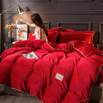 2020秋冬高克重纯色保暖加厚金貂绒四件套 1.5m床单款四件套 时尚款-中国红
