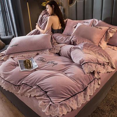 2020新款甄棉绒刺绣大花边四件套 1.8m床单款四件套 胭脂紫