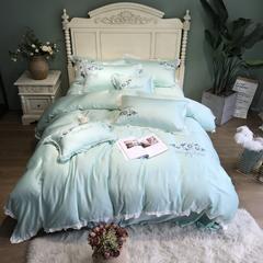 2018新款80天丝四件套 1.8m(6英尺)床 绿茵抱枕(个)含芯