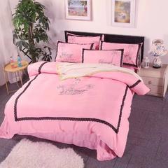 2018新品针织棉北欧文艺范针织棉绣花蕾丝花边四件套 1.5m(5英尺)床 1