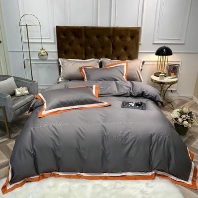 2020新款60长绒棉四件套床单款 1.5m床四件套 简爱-深灰