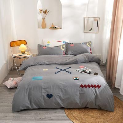2020新款高密度水洗棉系列四件套 1.2m床单款三件套 海姆达尔(深灰)
