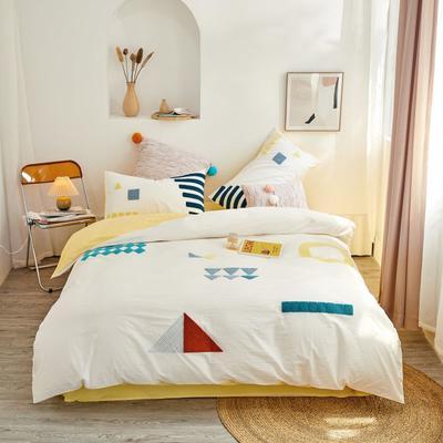 2020新款高密度水洗棉系列四件套 1.8m床单款四件套 莫比乌斯(白黄)