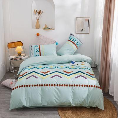 2020新款高密度水洗棉系列四件套 1.8m床单款四件套 特罗姆瑟(湖兰)