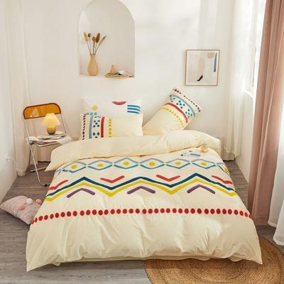 2020新款高密度水洗棉系列四件套 1.5m床单款四件套 特罗姆瑟(象牙黄)
