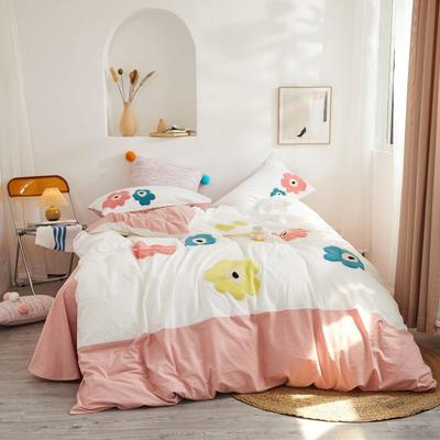 2020新款高密度水洗棉系列四件套 1.8m床单款四件套 伊童的花园(浅粉)