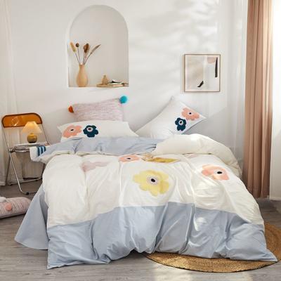 2020新款高密度水洗棉系列四件套 1.8m床单款四件套 伊童的花园(浅蓝)