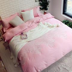 漫享家居 60S长绒棉 贡缎绣花四件套 1.5m(5英尺)床 粉色心情