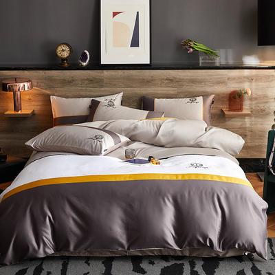 2020新款-轻奢商务系列四件套-可另配信封枕-有床笠款影棚图 可选配信封枕元/对 凯撒