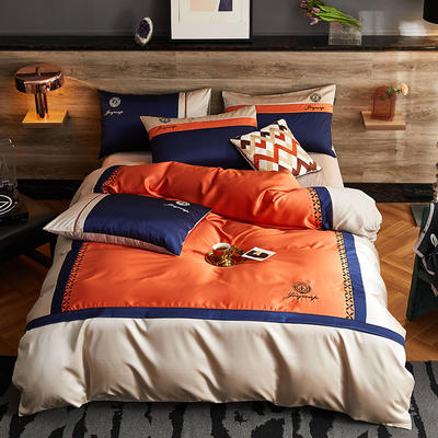 2020新款-轻奢商务系列四件套-可另配信封枕-有床笠款影棚图 可选配信封枕元/对 罗卡