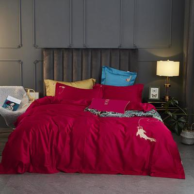 2020新款60长绒棉国潮风四件套—年年有余 1.5m床单款四件套 中国红