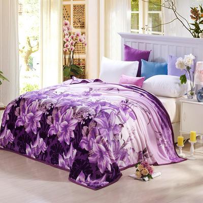 260克雪貂绒毛毯 加厚绒毯 休闲毯 盖毯 120×200 百合情缘