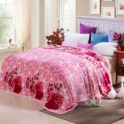 260克雪貂绒毛毯 加厚绒毯 休闲毯 盖毯 120×200 花儿朵朵