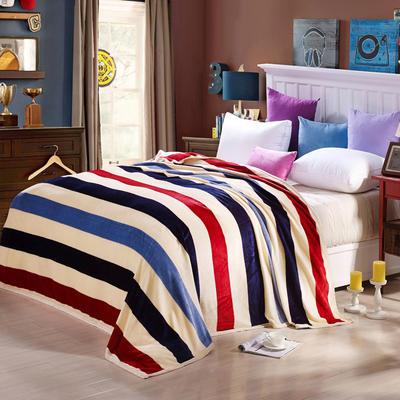 260克雪貂绒毛毯 加厚绒毯 休闲毯 盖毯 120×200 裸婚条纹