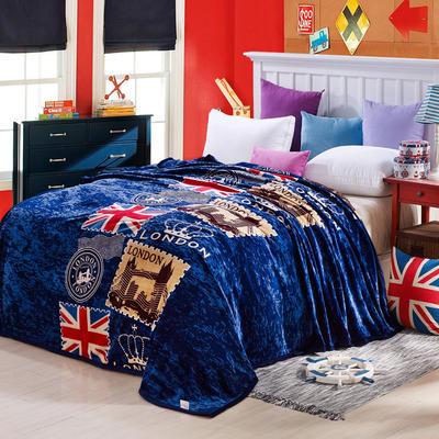 260克雪貂绒毛毯 加厚绒毯 休闲毯 盖毯 120×200 英伦旗帜