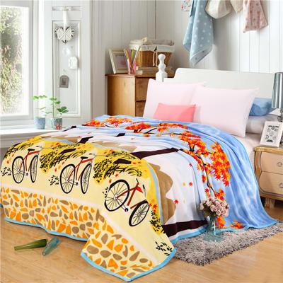 260克雪貂绒毛毯 加厚绒毯 休闲毯 盖毯 120×200 自行车