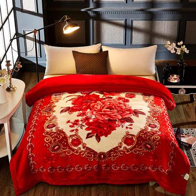 拉舍尔双层绒毯 200*230cm 百花齐放红