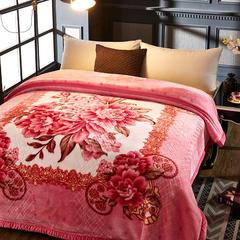 拉舍尔双层绒毯 200*230cm 簇锦团花粉