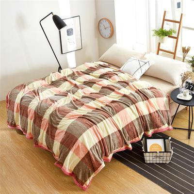 260克雪貂绒毛毯 加厚绒毯 休闲毯 盖毯 120×200 咖色大格