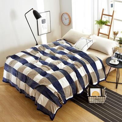 260克雪貂绒毛毯 加厚绒毯 休闲毯 盖毯 120×200 0蓝色大格