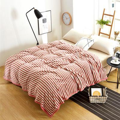 260克雪貂绒毛毯 加厚绒毯 休闲毯 盖毯 120×200 0红色条纹