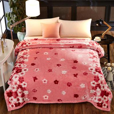 超柔拉舍尔毛毯 经典款双层毛毯 150*200 5斤 粉色小花