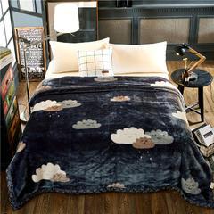 京宇毯业 超柔拉舍尔毛毯 经典款双层毛毯 150*200 5斤 天空