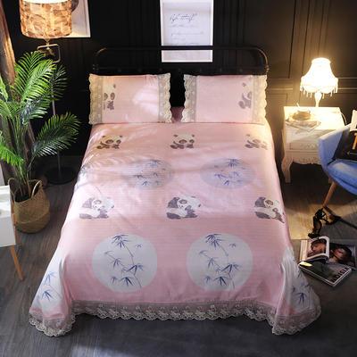 加厚蕾丝花边冰丝席 1.8m(6英尺)床 熊猫粉