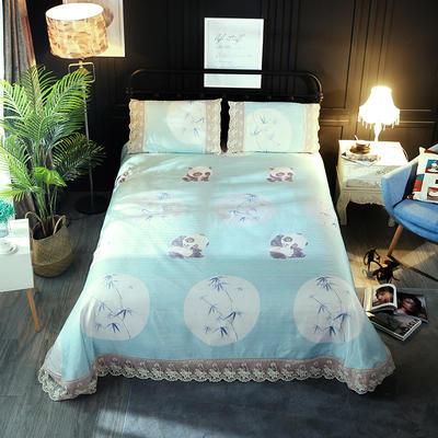加厚蕾丝花边冰丝席 1.8m(6英尺)床 熊猫蓝