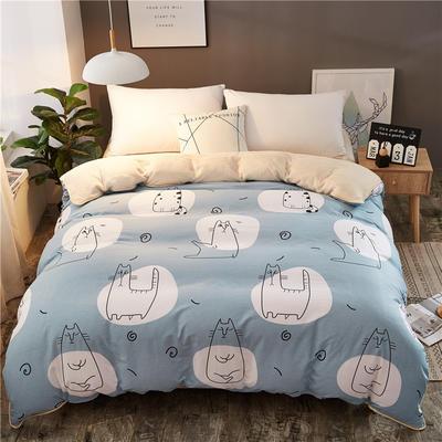 A版全棉B版加厚法兰绒被套单件 棉加绒 155*205cm 瑜伽猫