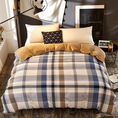 A版全棉B版加厚法兰绒被套单件 棉加绒 155*205cm 蓝调空间