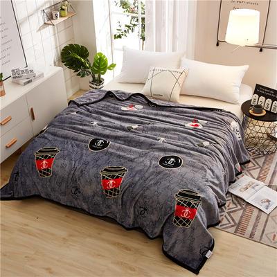 300克云貂绒毛毯 200*230cm 时尚咖啡