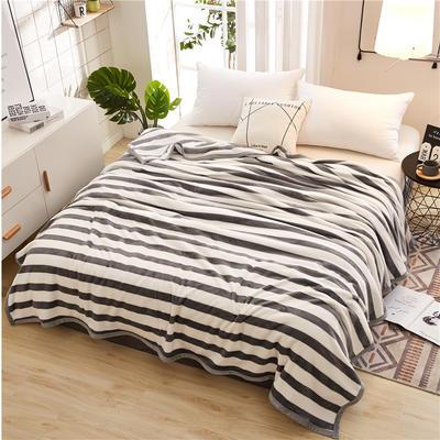 300克云貂绒毛毯 120*200cm 灰色条纹
