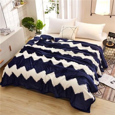 300克云貂绒毛毯 120*200cm 蓝色波浪