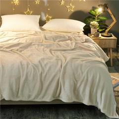 京宇毯业 200克法莱绒毯 加厚珊瑚绒毛毯 120*200 纯色米白